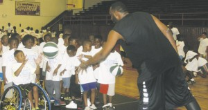 Holley Cochran / The Prentiss Headlight—Campers got instruction from Big Al Wednesday afternoon during his 6th annual basketball camp at his alma mater Prentiss High School.