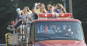 Holley Cochran / The Prentiss Headlight—Prentiss Christian School seniors made a grand entrance on the first day of school Friday by way of the Clem Volunteer Fire Truck.