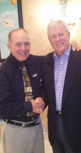 "WJDR and WJCU owner Tommy McDaniel with the ""voice of the New Orleans Saints Jim Henderson""."