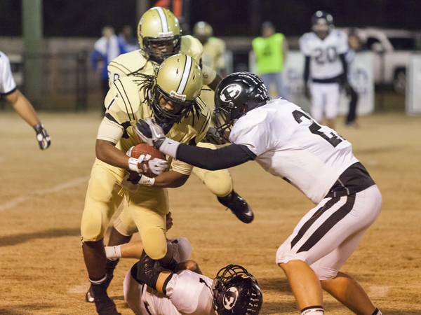 THE PRENTISS HEADLIGHT / Josh Applewhite #1 trying to get around a Pisgah Dragon in the Jackets win Friday night.