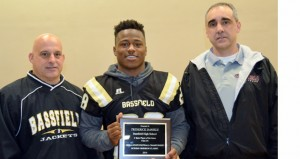 "Shirley Burnham / The Prentiss Headlight—MHSAA Media Director Todd Kelly presented BHS football player Trodrick ""T-Rod"" Daniels the ""Player of the Game Award."
