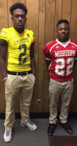 "Holley Cochran / The Prentiss Headlight—Senior Jacket Jamal Peters (left) was chosen to play in the Army All American bowl as well as the Mississippi-Alabama All-Star game. Senior Jacket Trodrick ""T-Rod"" Daniels was selected to play in the Mississippi North-South All-Star Game. Both players represented their team, school and county in exemplary manner."