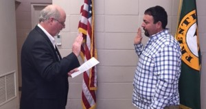 Holley Cochran / The Prentiss Headlight—New Prentiss Police Chief Joseph Bullock being sworn in Monday by Mayor Charley Dumas.