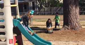 Holley Cochran / The Prentiss Headlight—Gavin Walker, Mary Ella Bass and Gentry Cole are seen enjoying the playground while at the Early Childhood Education Program at Prentiss Baptist Church.