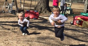 Holley Cochran / The Prentiss Headlight—Sophia Mason and Davis Honea enjoy the sunshine and swings while they can. The Early Childhood Education Program at Prentiss Baptist Church will close May 29, 2015, after 41 years.