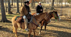 """The Prentiss Headlight—Perry Sorey on his roping horse """"Bull"""" with friend Bobby Patrick of Hattiesburg."""