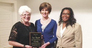 Holley Cochran / The Prentiss Headlight—Citizen of the Year Janie Winscott with Chamber member Tracy Waits and Chamber Administrator Jerleen White.