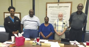 Jefferson Davis County School Board members Von Norwood, John Bass, Beulah Walker, Billy Boleware and Rev. Jesse Holloway were recognized at Monday's school board meeting for their hard work and effort in the district. Members were honored with refreshments, gifts and a certificate signed by Mississippi School Board Association Executive Director Michael W. Waldrop.  School Board Members Recognition Week in Mississippi was February 15-21.