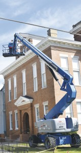 Holley Cochran / The Prentiss Headlight—You might have noticed work being done to the Courthouse lately. Blackledge Painting, LLC out of Laurel is giving the windows and trim a new coat of paint.