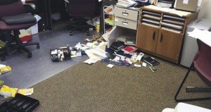 The Prentiss Headlight /  County Clerk Judy Cole found her file cabinet damaged & petty cash missing after she arrived at work Wednesday morning .