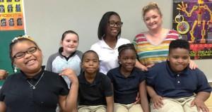 The Prentiss Headlight—Carver Elementary students are as follows: (l. to r. first row) Alyssa Harper, Keyshawn Fairley, August Mickell and La'Trell Leggett; (second row) Chloe' Potter, Jade Barnes and ParachuteTeacher Ellen Smith