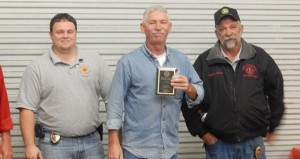 The Prentiss Headlight—Allen Allday was presented a plaque for 20 years of service to the Bassfield Fire Department.