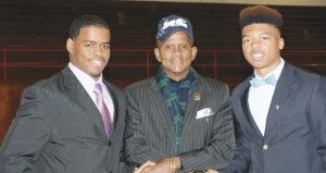 The Prentiss Headlight—NAACP President Rev. Dr. Raymond Geeston with BHS and PHS student speakers Joshua Hubbard and Fred McCollum.