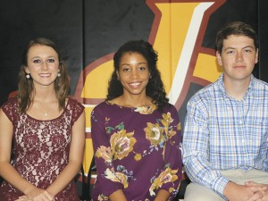 The Prentiss Headlight—Pictured left to right are Prentiss Christian School Valedictorian Taytum Reid, WDAM anchor Karrie Leggett-Brown and Salutatorian Luke McNerney.