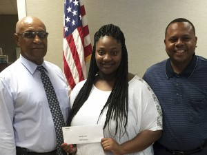 Angie Kothmann / The Prentiss Headlight—Pictured left to right Jefferson Davis County Supervisor John Thompson, scholarship recipient Jerneka Laird and Jefferson Davis County Supervisor Michael Evans